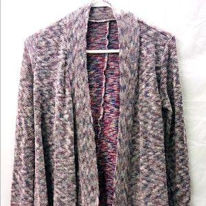 White Multi-color Knit Cardigan Sweater Medium AE